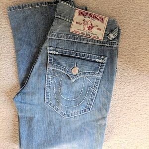 True Religion light wash jeans.